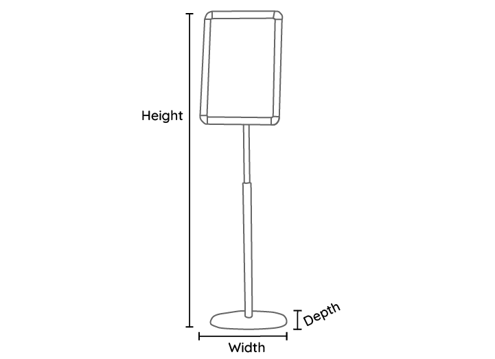 Telescopic Sign Holder Line Drawing